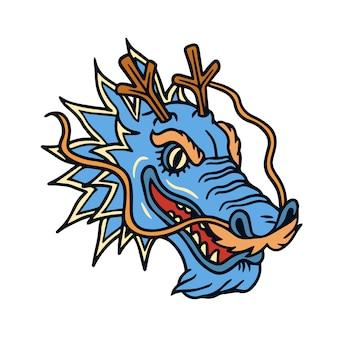 Tatuaż starej szkoły głowy niebieskiego smoka