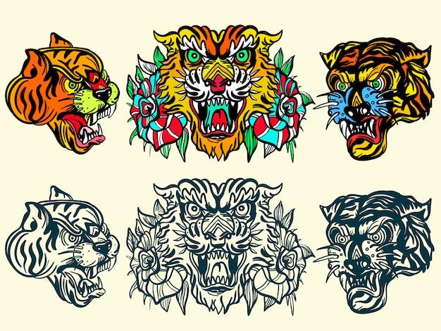 Tatuaż starej szkoły tygrysy