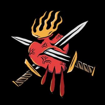 Tatuaż starej szkoły z nożem serca