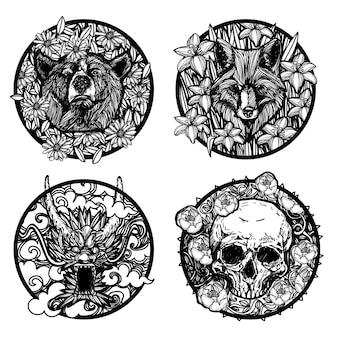 Tatuaż sztuka smok niedźwiedź wilk czaszka w kwiaty rysunek i szkic czarno-białe na białym tle.