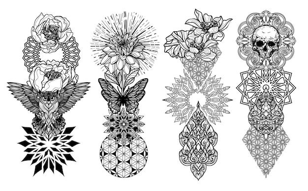 Tatuaż sztuka zwierzę ptak czaszka motyl i kwiat ręcznie rysunek i szkic czarno-biały