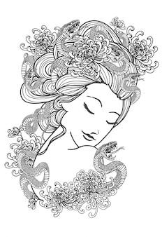 Tatuaż sztuki kobiety i rysunek węża kwiat strony i szkic czarno-biały
