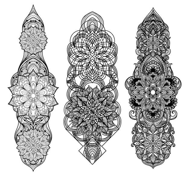 Tatuaż sztuki projektowania barokowy rysunek odręczny sylwetki i szkic