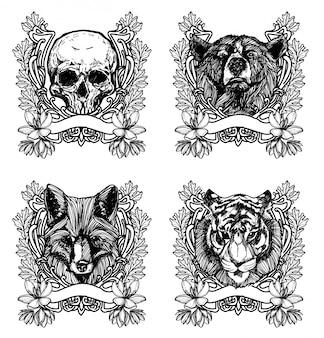 Tatuaż sztuki rysowania zwierząt i szkic czarno-biały