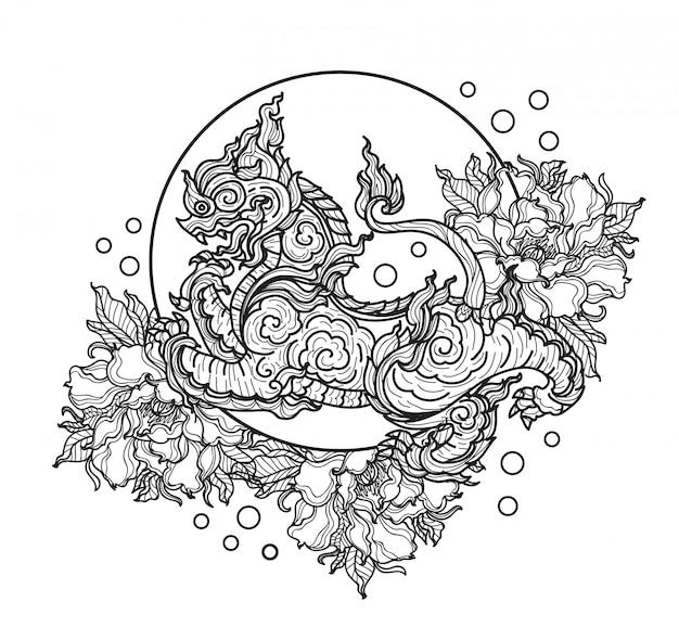 Tatuaż sztuki tygrys tajski kwiat rysunek ręka i szkic czarno-biały