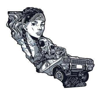 Tatuaż w stylu chicano vintage szablon z ładną kobietą w chustce kot czaszki serce w kwiatach z drutu kolczastego i niski jeździec retro samochód w monochromatycznym stylu na białym tle ilustracji wektorowych