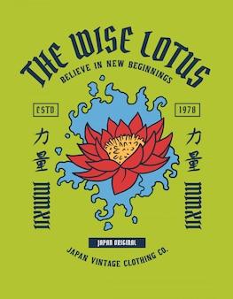 Tatuaż z lotosu z japońskim słowem oznacza siłę