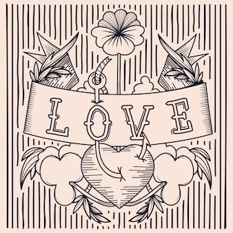 Tatuaż z miłosnym grawerem