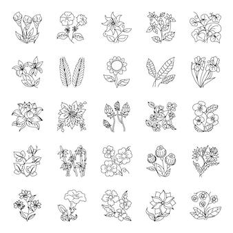 Tatuaże kwiatowe ręcznie rysowane wektory