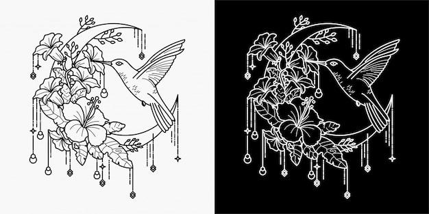 Tatuaże z kolibra wysysają nektar z kwiatów
