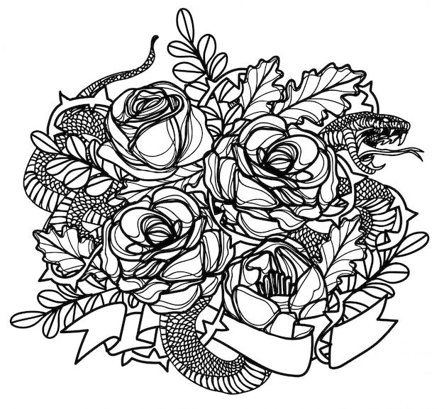Tatuowanie sztuki węża i rysowanie kwiatów i szkic czarno-biały
