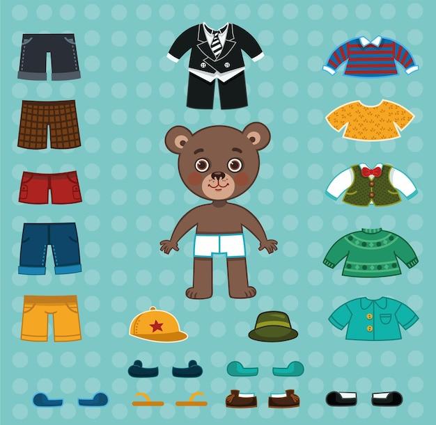 Tatuś niedźwiedź wektor ilustracja papierowa lalka do gry ubieranki