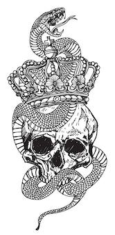 Tatuuj węża owiniętego wokół czaszki