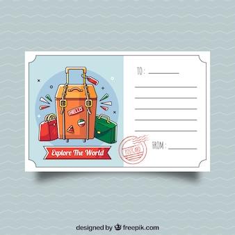 Tavel szablon pocztówka z ręcznie rysowane stylu