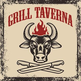 Tawerna z grillem. głowa byka z dwoma skrzyżowanymi nożami na tło grunge. ilustracja