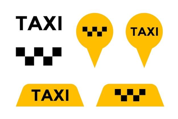 Taxi cab usługa wektor zestaw ikon. żółty szyld i pin znaki znaczników transportu miejskiego pasażerskiego. ilustracja elementu wektora