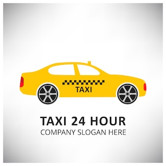 Taxi icon taxi service 24-godzinna serrvice żółta taxi samochód białe i szare tło