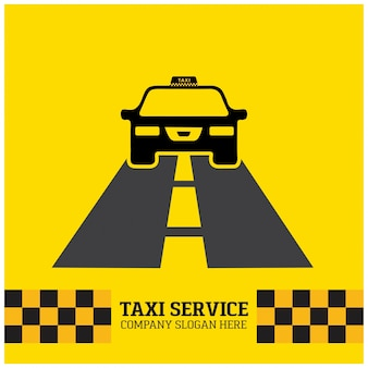 Taxi icon taxi service taxi samochodem działa na drodze żółtym tle