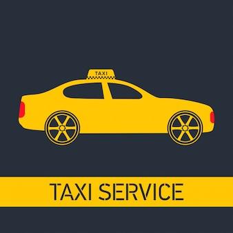 Taxi icon taxi service żółty taxi samochód szare tło