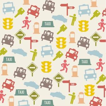 Taxi ikony nad beżową tło wektoru ilustracją