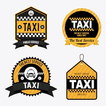 Taxi nad białą ilustracją