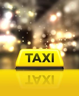 Taxi samochód na ulicy w nocy.