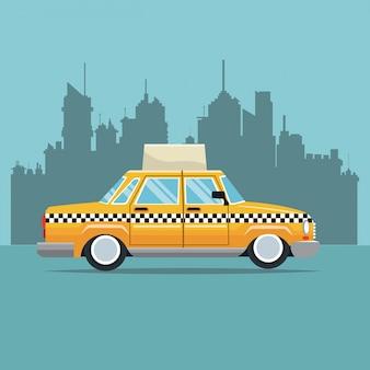 Taxi samochodu york bocznego widoku miasteczka nowy york tło