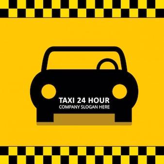Taxi service 24 hour service czarny taxi samochodem żółtym tle