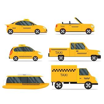 Taxi service samochód zestaw na białym tle