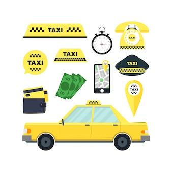 Taxi usługi transportowe zestaw na białym tle