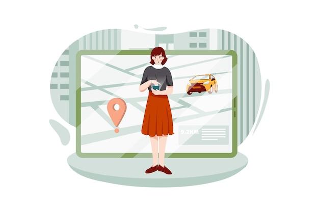 Taxi w mobilnej i nawigacyjnej lub lokalizacyjnej mapie miasta