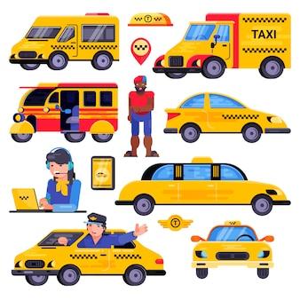 Taxi wektor taksówkarz transportu kierowca człowieka postać w żółty transport samochodowy