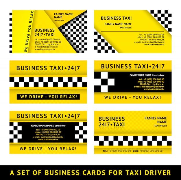 Taxi wizytówki - zestaw ilustracji