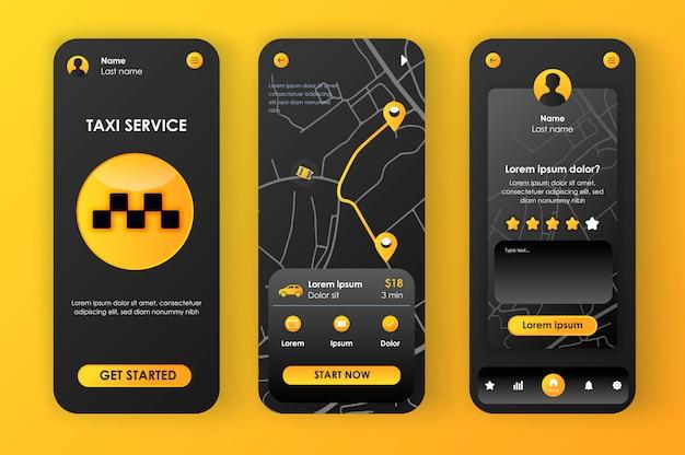 Taxi wyjątkowy zestaw neomorficzny dla aplikacji. rezerwacja taksówek online, trasa na mapie miasta i ocena kierowcy. interfejs usługi transportowej, zestaw szablonów ux. gui dla responsywnej aplikacji mobilnej.