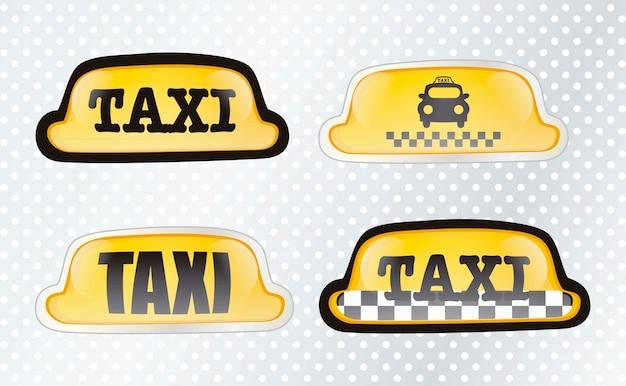 Taxi znak ustawia z srebną tło wektoru ilustracją
