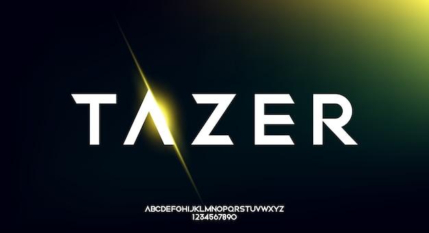 Tazer, futurystyczna czcionka alfabetu abstract technology. typografia przestrzeni cyfrowej