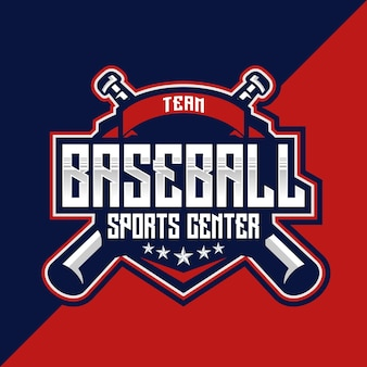 Team baseball sports center esport i emblemat logo sportu