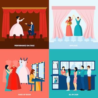 Teatr 4 płaskie ikony kwadratowy baner