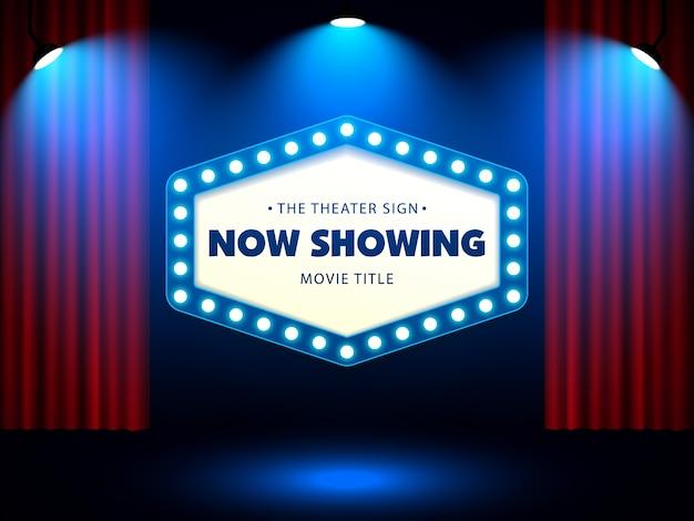 Teatr Retro Znak Na Czerwonej Zasłonie Premium Wektorów