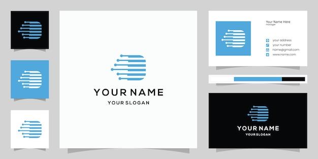 Tech litera d logo litera v logo i szablon projektu wizytówki technologia logo ikona