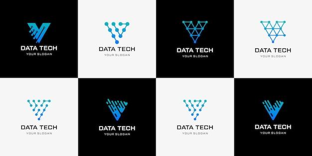 Tech Litera V Logo Litera V Logo Szablon Projektu Technologii Ikona Logo Premium Wektorów