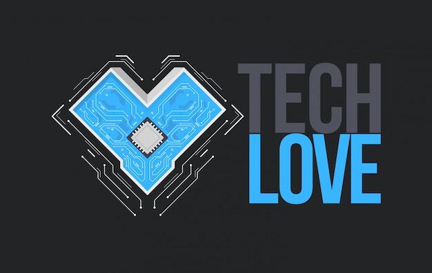 Tech love, napis z płytką drukowaną lub płytą główną w kształcie serca
