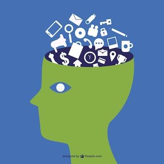 Tech mądry mózg wektor szablon