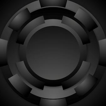 Tech okrągły kształt streszczenie tło. czarny wzór. ilustracja wektorowa