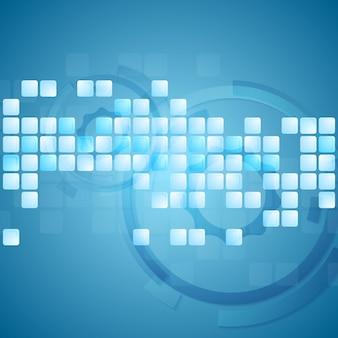 Tech streszczenie jasne niebieskie tło. projekt kwadratów wektorowych