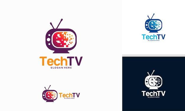 Tech television logo projektuje wektor koncepcyjny, szablon logo pixel television