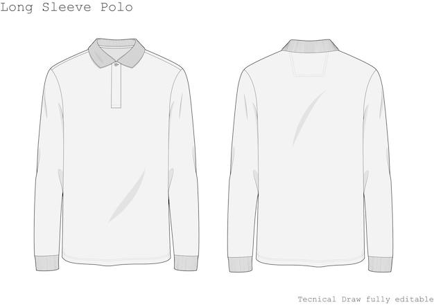 Techniczna koszulka polo z długim rękawem, ręcznie rysowana