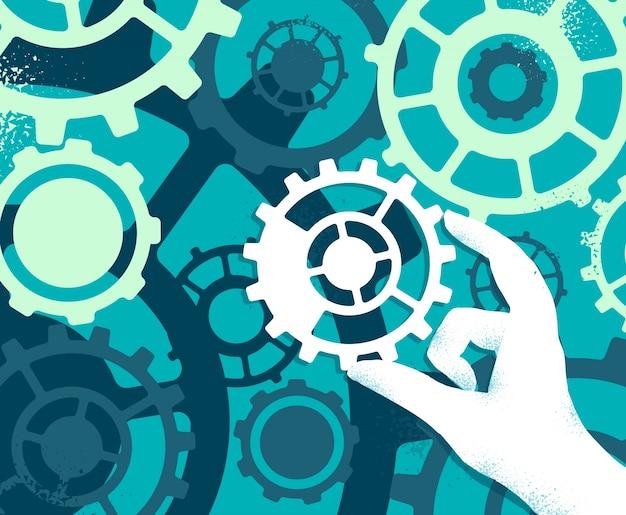 Technik napełnia skomplikowaną maszynę przemysłową