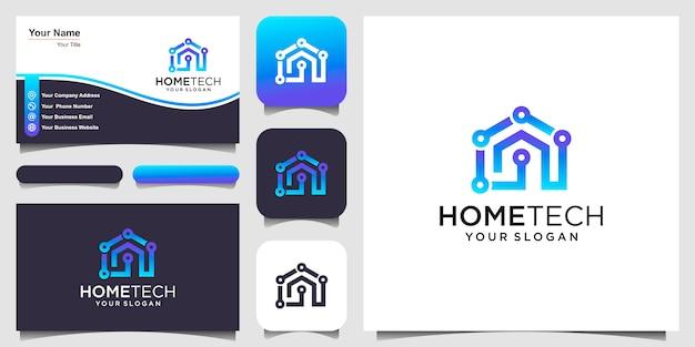 Technika domowa z logo w stylu linii i projektami wizytówek.