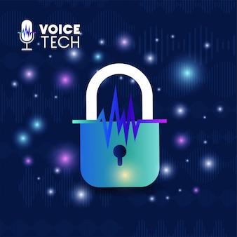 Technika Rozpoznawania Głosu Z Kłódką Premium Wektorów